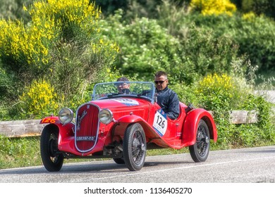 PESARO COLLE SAN BARTOLO , ITALY - MAY 17 - 2018 : FIAT 508 S	1935 on an old racing car in rally Mille Miglia 2018 the famous italian historical race (1927-1957)