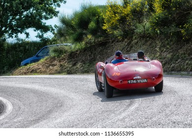 PESARO COLLE SAN BARTOLO , ITALY - MAY 17 - 2018 : MASERATI A6GCS/53 FANTUZZI	1954 on an old racing car in rally Mille Miglia 2018 the famous italian historical race (1927-1957)