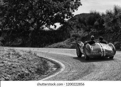 PESARO COLLE SAN BARTOLO , ITALY - MAY 17 - 2018 : ASTON MARTIN DB 3S 1955 on an old racing car in rally Mille Miglia 2018 the famous italian historical race (1927-1957)