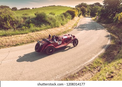 PESARO COLLE SAN BARTOLO , ITALY - MAY 17 - 2018 : ALFA ROMEO 6C 1750 GRAN SPORT ZAGATO 1930 on an old racing car in rally Mille Miglia 2018 the famous italian historical race (1927-1957)