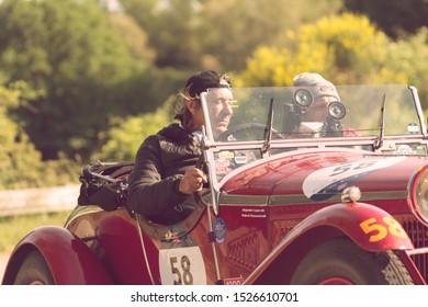 PESARO COLLE SAN BARTOLO , ITALY - MAY 17 - 2018 :   ALFA ROMEO 6C 1750 SUPER SPORT ZAGATO 1929 on an old racing car in rally Mille Miglia 2018 the famous italian historical race (1927-1957)