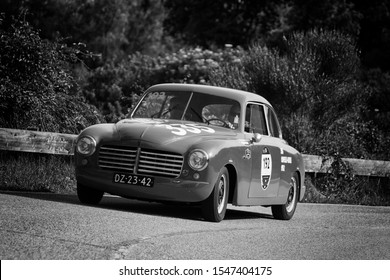 PESARO COLLE SAN BARTOLO , ITALY - MAY 17 - 2018 : ABARTH FIAT 1400 TOURING 1950 on an old racing car in rally Mille Miglia 2018 the famous italian historical race (1927-1957)