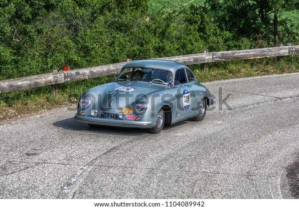 PESARO COLLE SAN BARTOLO , ITALY - MAY 17 - 2018 : PORSCHE 356 15001953 old racing car in rally Mille Miglia 2018 the famous italian historical race (1927-1957)