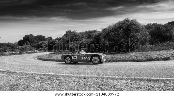 PESARO COLLE SAN BARTOLO , ITALY - MAY 17 - 2018 : PARISOTTO PASQUALIN 750 SPORT1952 old racing car in rally Mille Miglia 2018 the famous italian historical race (1927-1957)