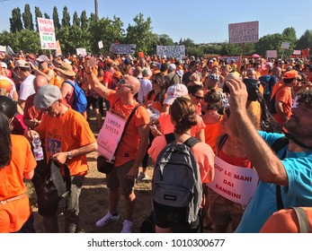 Pesaro Italy - 8th July 2017 Demonstration pro choice vaccination - demonstrators shout slogans against the Italian government