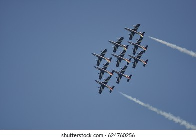Pesaro Italy - Aug 31 2016: The Italian demonstration team Frecce Tricolori air show