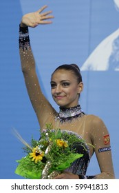 PESARO, ITALY - AUGUST 28: Russia's KANAEVA Evgeniya wins the all round champsionship in 2010 Rhythmic Gymnastics World Cup on August 28 in Pesaro, Italy
