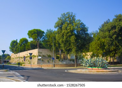 PESARO, ITALY - August 30, 2019: Bastion del Carmine is part of the 16th-century Roveresian walls to protect the city Pesaro