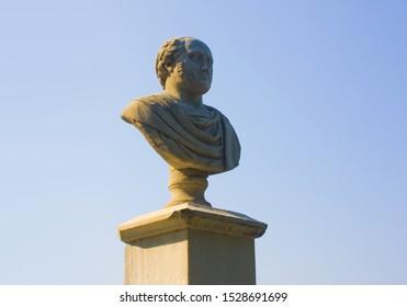 PESARO, ITALY - August 30, 2019: Monument to scientist Giulio Perticari in Orti Giuli Park in Pesaro