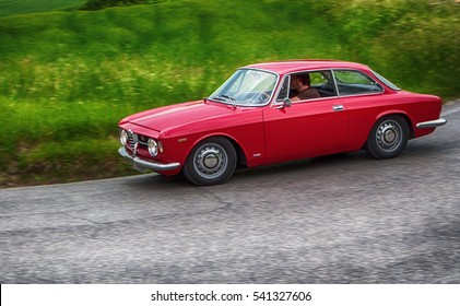 PESARO, ITALY - MAY 15: ALFA ROMEO JUNIOR SCALINO  old racing car in rally Mille Miglia 2015 the famous italian historical race (1927-1957) on May 15 2015