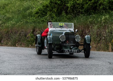 PESARO, ITALY - MAY 15: ASTON MARTIN International 1934 on an old racing car in rally Mille Miglia 2015 the famous italian historical race (1927-1957) on May 15 2015