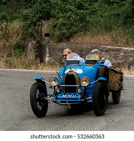 PESARO, ITALY - MAY 15: BUGATTI T 37 1926 old racing car in rally Mille Miglia 2015 the famous italian historical race (1927-1957) on May 2015