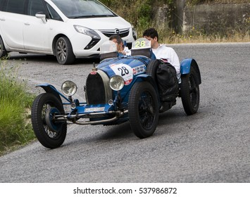 PESARO, ITALY - MAY 15: BUGATTI T 37C 1927 on an old racing car in rally Mille Miglia 2015 the famous italian historical race (1927-1957) on May 15 2015