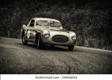 PESARO, ITALY - MAY 15: CISITALIA 202 SC berlinetta Pinin Farina 1947  on an old racing car in rally Mille Miglia 2015 the famous italian historical race (1927-1957) on May 15 2015