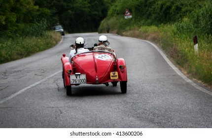 "PESARO, ITALY - MAY 15: FIAT 508 S Mille Miglia ""Balilla Sport"" 1933 old racing car in rally Mille Miglia 2015 the famous italian historical race (1927-1957) on May 2015"