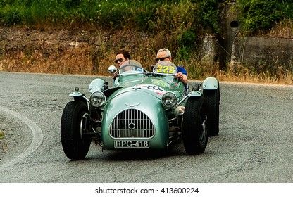 PESARO, ITALY - MAY 15: HW (POI HWM) Alta-Jaguar 1951 old racing car in rally Mille Miglia 2015 the famous italian historical race (1927-1957) on May 2015