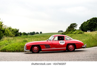 PESARO, ITALY - MAY 15: MERCEDES-BENZ 300 SL Coupe W 198 1955   old racing car in rally Mille Miglia 2015 the famous italian historical race (1927-1957) on May 2015