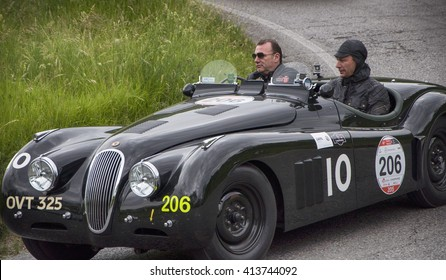 PESARO, ITALY - MAY 15:JAGUAR XK 120 OTS Sports 1950  old racing car in rally Mille Miglia 2015 the famous italian historical race (1927-1957) on May 2015