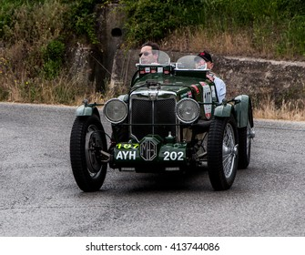 PESARO, ITALY - MAY 15:MG K3 Magnette 1934 old racing car in rally Mille Miglia 2015 the famous italian historical race (1927-1957) on May 2015