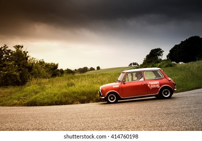 PESARO, ITALY - MAY 15:mini cooper   old racing car in rally Mille Miglia 2015 the famous italian historical race (1927-1957) on May 2015