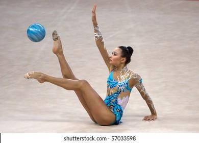 PESARO, ITALY - MAY 2: Aliya Yussupova, Kazahkstan, competes in individual exercise with ball at Rhythmic Gymnastic World Cup 2009  on May 2, 2009 in Pesaro, Italy