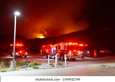 Pescadero, California - October 24 2019: Wildland Firefighters on the scene of the Cabrillo Fire near Butano State Park.