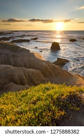 Pescadero State Beach, along California's Pacific Coast Highway, in lovely sunset colors