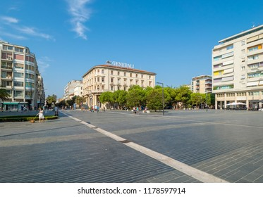 Pescara, Italy - 19 August 2018 - The historic center of the sea city in Abruzzo region, during a summer sunday morning.