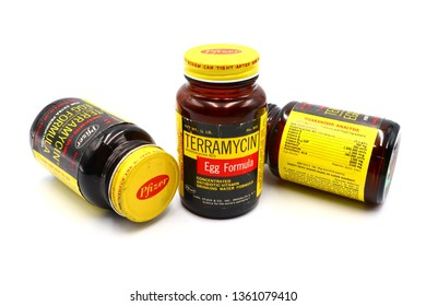 Pescara, Italy - April 06, 2019: Vintage 1960 TERRAMYCIN Pfizer EGG FORMULA. Formulation of Oxytetracycline Antibiotic and Vitamins for Pullets. Made in U.S.A by Chas. PFIZER & Co. Inc. Brooklyn N.Y.