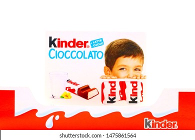Pescara, Italy – August 11, 2019: Kinder Chocolate Bars. Kinder is a brand of products made in Italy by Ferrero