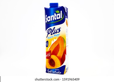 Pescara, Italy – December 18, 2019: Santal Plus Peach and Mango Juice. Santal is an Italian brand of juices and nectars product by Parmalat of Lactalis Group