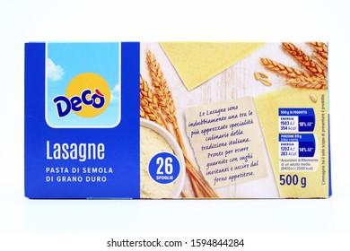 Pescara, Italy – December 21, 2019: Pasta LASAGNE Decò. Traditional Italian Food sold by Decò Supermarket chain