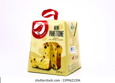 Pescara, Italy – December 26, 2019: Traditional Cake Panettone with candied fruits. Sold by Auchan Supermarket chain