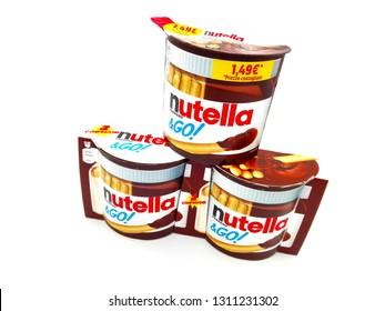 Pescara, Italy – February 12, 2019: NUTELLA & GO! Hazelnut Spread and Breadsticks. Produced in Italy by Ferrero