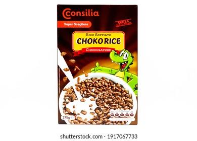 Pescara, Italy – February 15, 2021: Consilia Choko Rice cereals