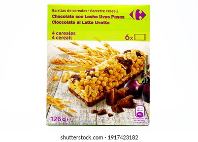 Pescara, Italy – February 15, 2021: Cereals Bar with Chocolate and Raisins sold by Carrefour Supermarket chain