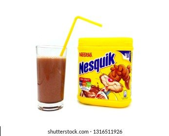 Pescara, Italy - February 18, 2019: NESQUIK Chocolate Powder. Nesquik is a brand of products made by Nestlé