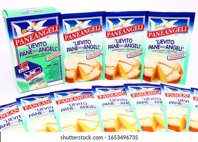 Pescara, Italy – February 21, 2020: PANEANGELI The Yeast Bread of Angels Leavening Agent. Paneangeli is an Italian Brand of Cameo/Dr. Oetker