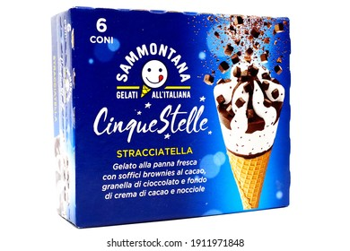 Pescara, Italy – February 7, 2021: Cinque Stelle Ice Cream with Chocolate Chips. Cinque Stelle is an Italian Ice Cream produced by Sammontana
