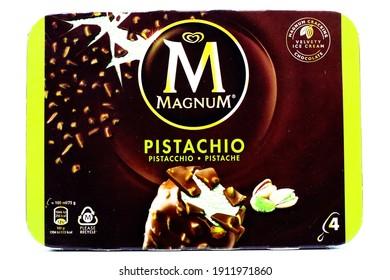 Pescara, Italy – February 7, 2021: MAGNUM Pistachio Ice Cream. Magnum is a brand of Unilever