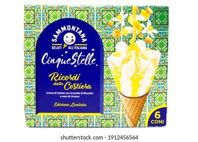Pescara, Italy – February 7, 2021: Cinque Stelle Ice Cream with Lemon. Cinque Stelle is an Italian Ice Cream produced by Sammontana