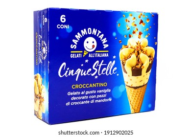 Pescara, Italy – February 7, 2021: Cinque Stelle Ice Cream with Almonds. Cinque Stelle is an Italian Ice Cream produced by Sammontana