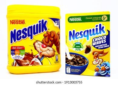 Pescara, Italy – February 8, 2021: NESQUIK Chocolate Powder and NESQUIK Cereals box. Nesquik is a brand of Nestlé