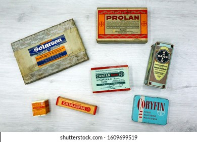 Pescara, Italy – January 8, 2020: Vintage 1940s Boxes of BAYER, German Multinational Pharmaceutical Companies founded in 1863