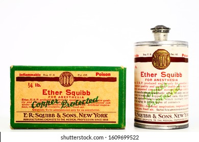 Pescara, Italy – January 8, 2020: Vintage 1940s Poison 1/4 lb. ETHER SQUIBB For Anesthesia. Produced by E.R. Squibb New York and made available to American Military during the World War II