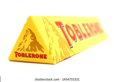 Pescara, Italy – July 18, 2019: TOBLERONE Swiss Milk Chocolate with Honey and Almond Nougat. TOBLERONE is a Swiss Chocolate bar by Mondelez International
