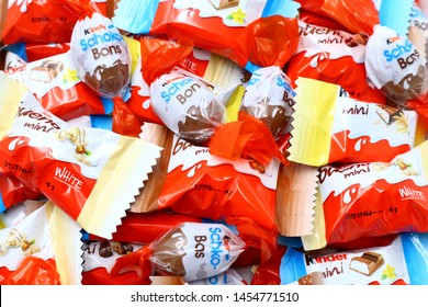 Pescara, Italy – July 18, 2019: Kinder mini Bars, mini Bueno and Schoko-Bons Chocolate. Kinder is a brand of products made in Italy by Ferrero