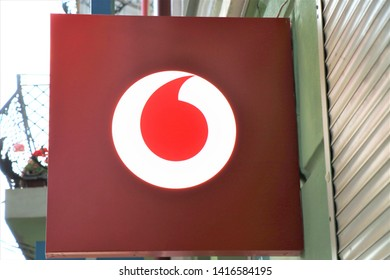 Pescara, Italy. June 2019 Signage of a Vodafone store. International company of Sim card and internet services.
