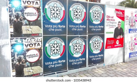 PESCARA, ITALY - MARCH 01, 2018: Election Wall Posters for ITALY's ELECTION on March 4, 2018