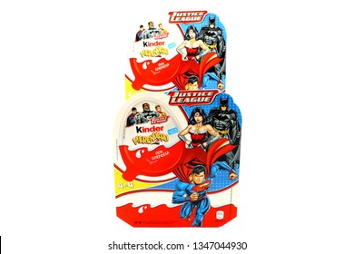 Pescara, Italy – March 23, 2019: Kinder JOY Merendero JUSTICE LEAGUE Chocolate Eggs. Kinder  is a brand of products made in Italy by Ferrero, Justice League is a Trademark of DC Comics WB SHIELD WBEI